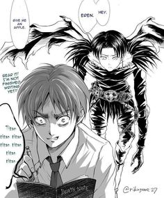 """""""Attack on Titan meets Death Note""""...I just choked on my water by laughing XD this is beautiful haha"""