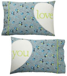"We LOVE these ""Love You"" pillow cases!  Make them in just a few hours! #creativitymadesimple"