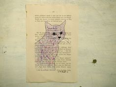 Cat original tempera Pen and Ink painting on page of by vumap, €20.00