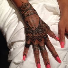 Cally-jo #callyjoart Instagram photos | badgalriri 's new hand tattoo by me and #bangbangnyc we each collaborated on the design and the tattooing, inspired by henna art. Thanks Ri for being awesome