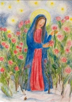Ilona Bock - Maria im Rosengarten Waldorf Crafts, Chalkboard Drawings, Christmas Chalkboard, Holy Mary, Angel Art, Nature Crafts, Pictures To Draw, Christmas Art, Holidays And Events