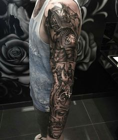 Number one option Warrior Tattoo Sleeve, Samurai Tattoo Sleeve, Wolf Tattoo Sleeve, Warrior Tattoos, Armor Tattoo, Norse Tattoo, Viking Tattoos, Best Leg Tattoos, Best Sleeve Tattoos