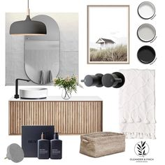 cement and white tones for an ensuite, I couldn't help but add textural warmth. Mood Board Interior, Interior Styling, Interior Decorating, Interior Design Boards, Bathroom Design Inspiration, Bathroom Interior Design, Interior Design Portfolios, Bathroom Inspo, Best Gray Paint Color