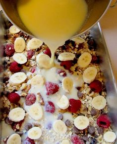 Baked Oatmeal Casserole Recipe.   Subbed blueberries for raspberries Pecans for walnuts Reduced chocolate chips Used two bananas instead of just 1  Payden   DELICIOUS.  Almost tastes like dessert.