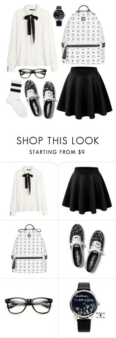 """""""Let's go to school!!"""" by agistars ❤ liked on Polyvore featuring H&M, LE3NO, MCM, Keds, Monki, school, uniform and blackandwhite"""