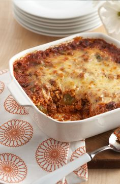 Undone Stuffed Pepper Casserole — Well done, we say. Layering the ingredients in a casserole saves time and delivers big flavor in this cheesy Undone Stuffed Pepper Casserole.