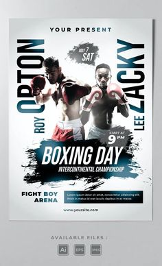 Boxing Poster Template AI, EPS Boxing Posters, Movie Posters, Lee Roy, Poster Templates, Film Poster, Billboard, Film Posters