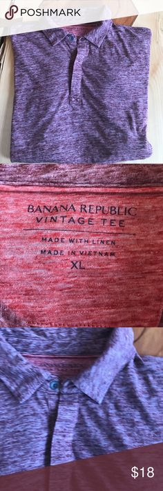 """Banana Republic Vintage Tee Polo Banana Republic Polo in a vintage wash. Note- color is not purple but rather a maroon color. Excellent used condition. Polyester, cotton and Linen blend fabric. Lying flat 29"""" shoulder to hem, pit to pit 25"""" Banana Republic Shirts Polos"""