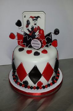 Harley Quinn birthday cake - haven't made a cake in a bit!  Not a crisp edge to be found on this cake wompwomp.