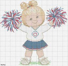 Cheerleader w/hearts (cross stitch)