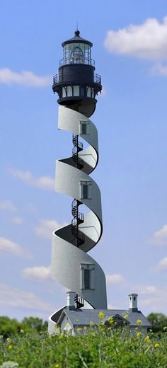 STRANGE BUILDINGS - COOL SPIRAL STAIRCASE LIGHTHOUSE -