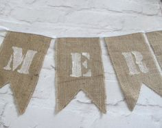 Arpillera banderines banner de alta calidad por SeaBreezeStore Christmas Bunting, Merry Christmas, Hessian, Burlap, Rugs, Babyshower, Home Decor, Products, Home