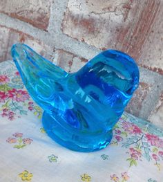 Beautiful Vintage Blown Glass Blue Bird of Happiness - Unmarked  on Etsy, $8.95