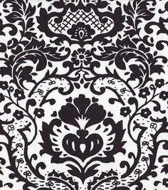 54'' Home Decor Value Print Fabric- Open Damask Black & White