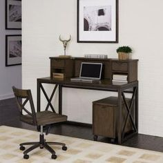 Home Styles Xcel 2-Piece Mahogany and Copper Office Suite-5079-1523 - The Home Depot