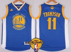 Golden State Warriors #11 Klay Thompson Blue 2016 The NBA Finals Patch Jersey