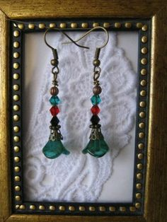 Handmade Peacock Green Czech Flower Earrings, Free U.S. Shipping!