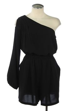 The Texas Cowgirl - Black One Shoulder Romper, $39.95 (http://www.thetexascowgirl.com/black-one-shoulder-romper/)