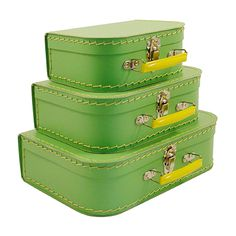 Vintage Suitcases Mini Set of 3 Stylish Retro Durable Decorative Storage Green Suitcase Storage, Suitcase Set, Box Storage, Vintage Suitcases, Vintage Luggage, Travel Box, Travel Luggage, Travelers Notebook, Cardboard Suitcase