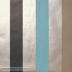 Papel Pintado ARTIST 71_13_62, papel de rayas en negro, azul, marrón y plata.