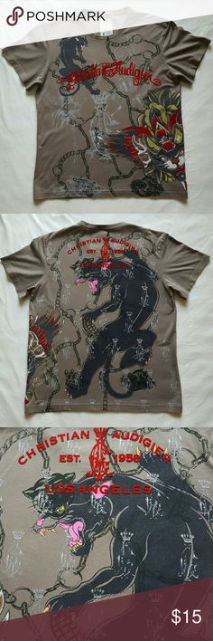 Christian Audigier men's t-shirt Worn in great condition. Very light signs of wear. Size is L. Runs smaller.  100% cotton. Christian Audigier Shirts Tees - Short Sleeve
