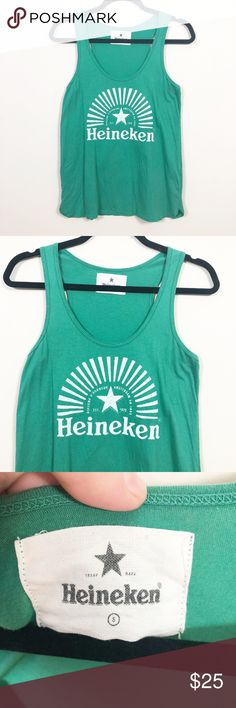 "Heineken Green Logo Racerback Tank Sm This is a soft green Heineken logo tank. The style is racerback and this is the perfect casual cute summer top!  Size Small. Pre-Owned.  Measurements: Length - Approx. 25"" Pit to Pit - Approx. 16"" Heineken Tops Tank Tops"