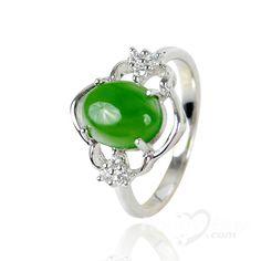 jade engagement rings | ... Jade Jewelry > XYYC Elegant Platinum Sterling Silver Perfect Jade Ring