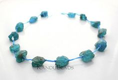 Blue Green Kyanite Rough Nugget Beads 12-18mm 15 inch strand (about 14 beads) - KanduBeads