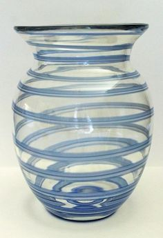 Stunning Art Glass Vase Clear With Swirling Blue & White Toned Pattern