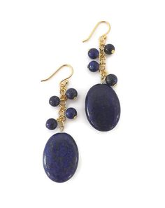 Oval Lapis Lazuli Earrings | T. Victoria. Handmade natural stone jewelry and accessories