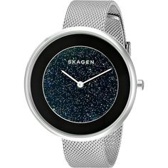 Skagen Gitte SKW2384 (Stainless Steel) Watches ($93) ❤ liked on Polyvore featuring jewelry, watches, silver, stainless steel jewelry, stainless steel wrist watch, dial watches, stainless steel watches and quartz movement watches