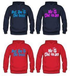 He is the man but she is the boss couple hoodie by DesignStreet21