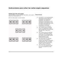 Instrucciones para echar las cartas según esquemas  Tirada para 36 o 52 cartas apto para Naipes - baraja española, tarot g...