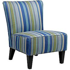 @Overstock - Hali armless accent chair features a bold striped poly-blend fabric in Sea blue, royal blue, tan, purple, leaf green that is durable and easy to maintain. Ideal for small spaces, this armless chair works great in dining rooms, bedrooms or living rooms.http://www.overstock.com/Home-Garden/Hali-Armless-Designer-Accent-Chair-Striped-Sea-Blue/5106925/product.html?CID=214117 $250.99