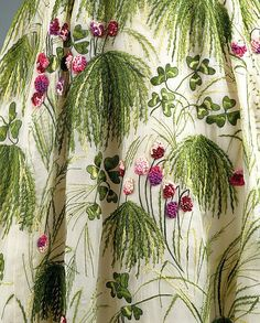 """May"" ~ Section of embroidered grasses & clover 