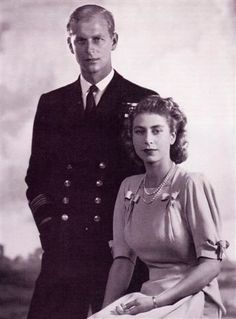 A very young Elizabeth II with an equally young Prince Philip, Duke of Edinburgh.