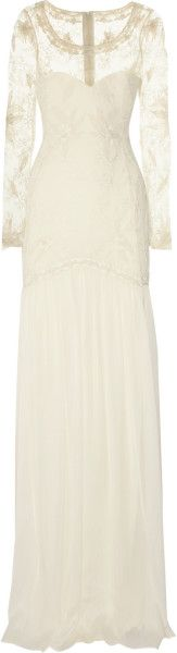 Temperley London White Belle Embroidered Lace and Silkchiffon Gown