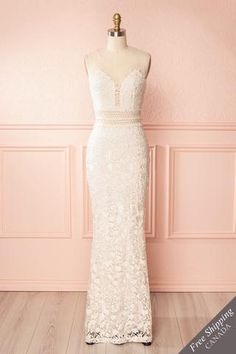 Cream lace and mesh gown with openwork White A Line Dress, Wedding Dress With Veil, Prom Dresses, Wedding Dresses, Bride Dresses, Unique Dresses, Sequin Dress, New Dress, Wedding Ideas
