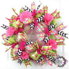 Deco Mesh Spring Summer Wreath Slim Screen Door Hot Pink Lime Green by www.southerncharmwreaths.com $55
