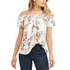 Juniors' Printed Lace-Up Off the Shoulder Blouse Size: XXL Multicolor - Walmart Fashions - Ideas of Walmart Fashions - Juniors' Printed Lace-Up Off the Shoulder Blouse Size: XXL Multicolor Faux Wrap Dress, Off The Shoulder, Floral Tops, Cute Outfits, Lace Up, Long Sleeve, Printed, Clothes, Shopping
