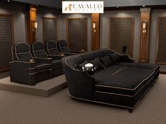 Cavallo Symphony Chorus Sofa Package: Symphony Home Theater Seats and Chorus Media Lounge Sofa, Fabric, 5 Cavallo Symphony Seating and Chorus Lounge Sofa Luxury Home Theater Package Home Theater Room Design, Movie Theater Rooms, Home Cinema Room, Home Theater Decor, Home Theater Seating, Theater Seats, Movie Rooms, Small Movie Room, Home Theatre
