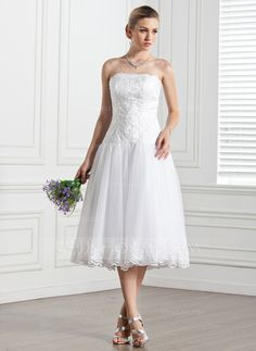 A-Line/Princess Strapless Tea-Length Tulle Wedding Dress With Lace (002000133) - JJsHouse$156