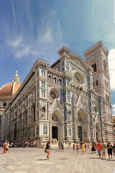 Duomo de Firenze or the Cathedral di Santa Maria del Fiore is the main church in Florence, Italy.  Construction started in 1294 and was finally opened in 1436.  Architectural styles: Gothic Revival, Renaissance, Italian Gothic.