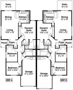 Multi-Family Plan 69783 - Contemporary, Ranch Style Multi-Family Plan with 2404 Sq Ft, 6 Bed, 4 Bath, 2 Car Garage House Plans One Story, Country House Plans, Story House, Small House Plans, Duplex Floor Plans, Apartment Floor Plans, House Floor Plans, Porch And Foyer, Duplex Design