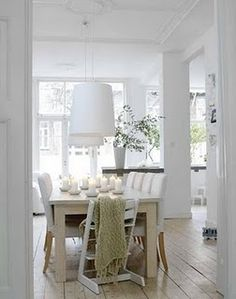 A modern, clean Scandinavian style beautifully accented with a Wide Plank Floor White Rooms, Interior Design, House Interior, White Dining Room, Home, Scandinavian Interior, White Interior, Home Decor, Home Furnishings