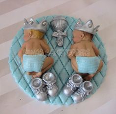 BLUE glitter Twins Boy Prince Baby Shower First Birthday FONDANT  BOY Cake Topper Baptism Christening. $40.00, via Etsy.