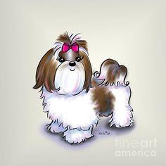 Title:Shih Tzu Beauty Artist:Catia Cho Medium:Mixed Media - Digital Painting Perro Shih Tzu, Shih Tzu Dog, Shih Tzus, Yorkie, Animals And Pets, Cute Animals, Shih Poo, Lhasa Apso, Dog Art