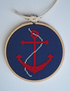 Nautical Anchor cross stitch by notsomodernmillie on Etsy