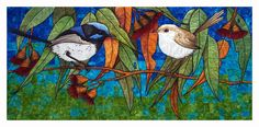 Blue Wren Quilt By Textile Artist and Art quilter Cindy Watkins
