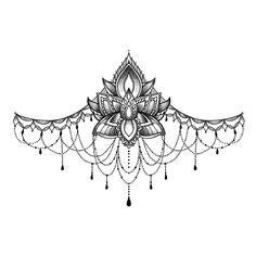 Beautiful lotus underboob temporary tattoo, sexy tattoo to be worn on sternum. Sternum Tattoo Lotus, Sternum Tattoo Design, Tattoo Femeninos, Tattoo Hals, Lotus Flower Tattoo Design, Thigh Garter Tattoo, Sternum Tattoos, Lace Garter Tattoos, Lace Tattoo Design